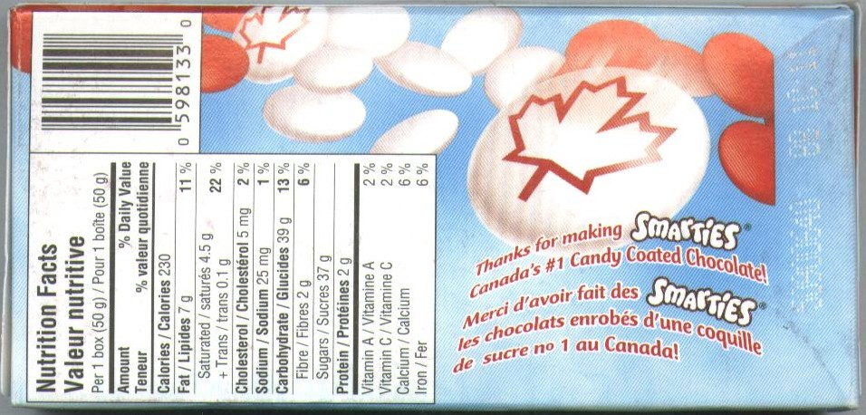 Canadian Smarties Page 1 Smarties Box Design
